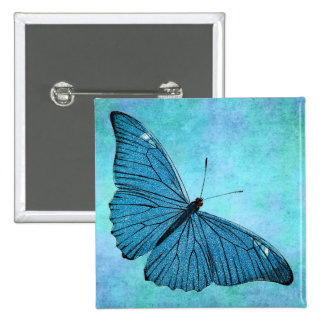 Vintage Teal Blue Butterfly 1800s Illustration Pinback Buttons