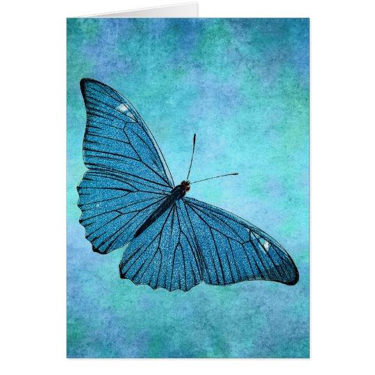 Vintage Teal Blue Butterfly 1800s Illustration Card