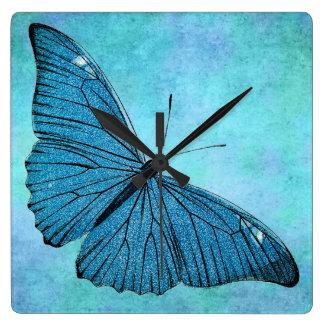 Vintage Teal Blue Butterfly 1800s Illustration Square Wallclocks