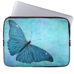 Vintage Teal Blue Butterfly 1800s Illustration Computer Sleeve