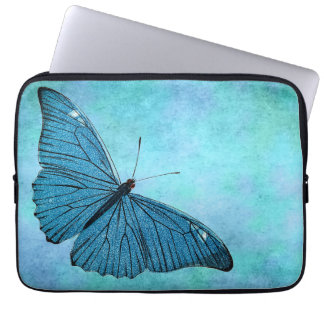 Vintage Teal Blue Butterfly 1800s Illustration Computer Sleeve