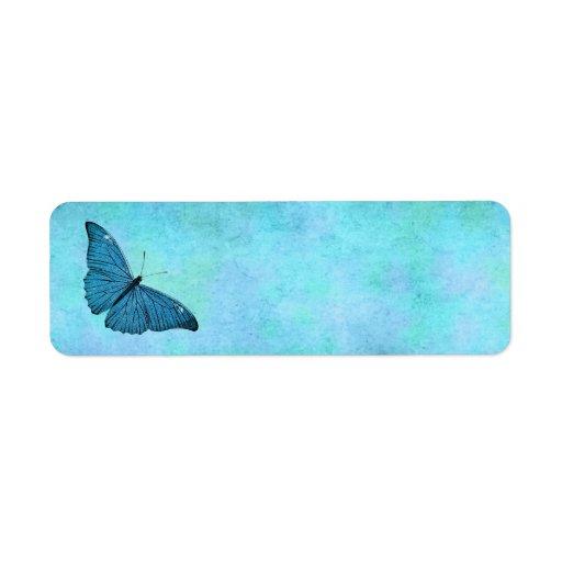 Vintage Teal Blue Butterfly 1800s Illustration Label