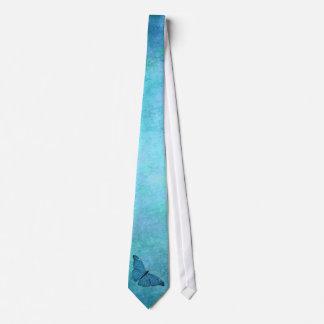 Vintage Teal Blue Butterfly 1800s Illustration Neck Tie