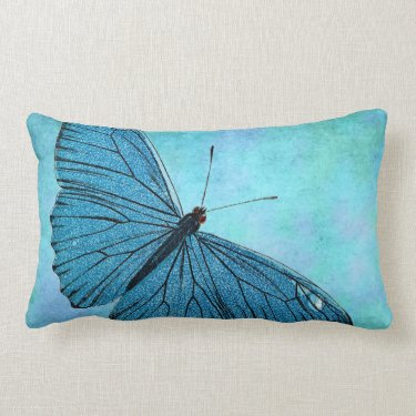 Vintage Teal Blue Butterfly 1800s Illustration Throw Pillows