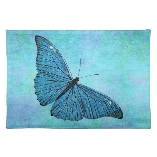 Vintage Teal Blue Butterfly 1800s Illustration Placemat