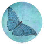 Vintage Teal Blue Butterfly 1800s Illustration Plate