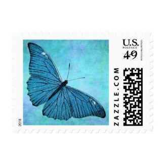 Vintage Teal Blue Butterfly 1800s Illustration Postage