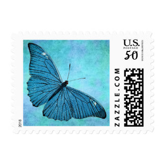 Vintage Teal Blue Butterfly 1800s Illustration Postage