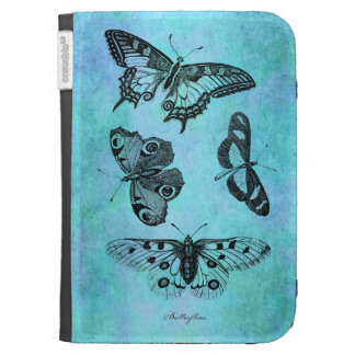 Vintage Teal Blue Butterfly Drawing - Butterflies Kindle 3G Cases