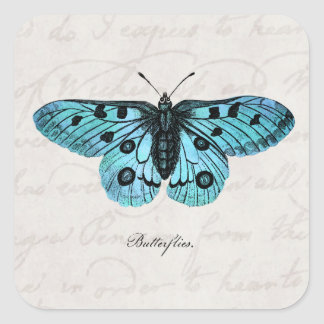 Vintage Teal Blue Butterfly Illustration -1800 s Stickers