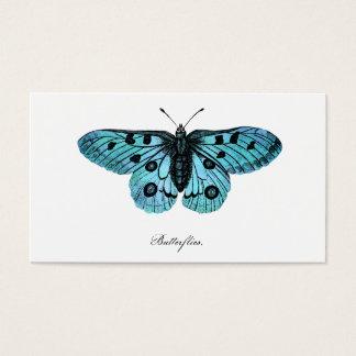 Vintage Teal Blue Butterfly Illustration -1800's Business Card