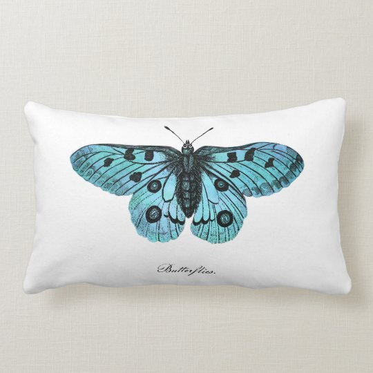 Vintage Teal Blue Butterfly Illustration -1800's Lumbar Pillow