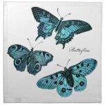 Vintage Teal Blue Butterfly Illustration - 1800's Cloth Napkin