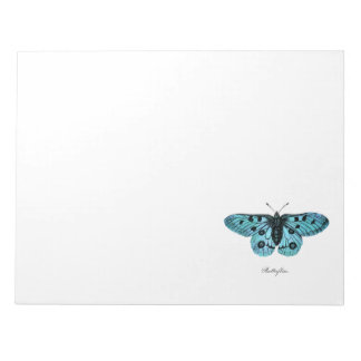 Vintage Teal Blue Butterfly Illustration -1800's Note Pads