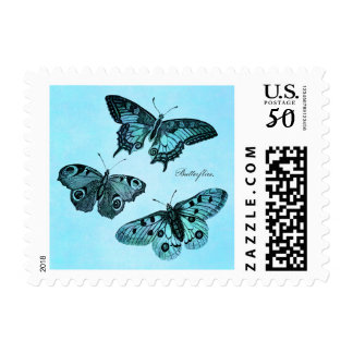 Vintage Teal Blue Butterfly Illustration - 1800's Postage