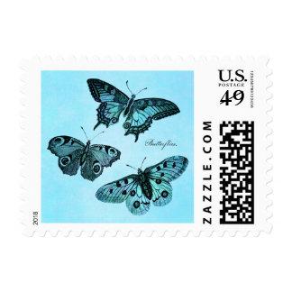 Vintage Teal Blue Butterfly Illustration - 1800's Postage Stamp