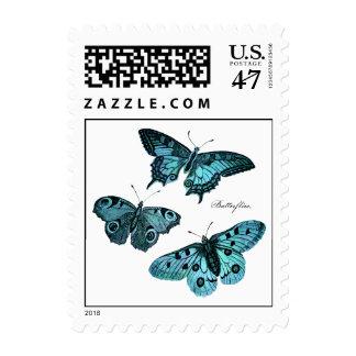 Vintage Teal Blue Butterfly Illustration - 1800's Stamp