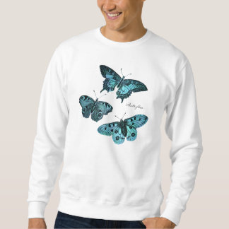 Vintage Teal Blue Butterfly Illustration - 1800's Sweatshirt