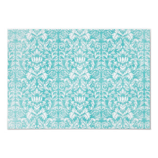 Vintage Teal Blue Damask Any Occasion Card