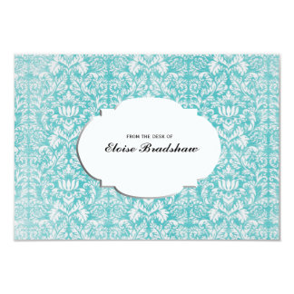 Vintage Teal Blue Damask Personalized Card