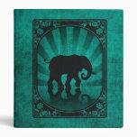 Vintage Teal Blue Elephant Silhouette Poster 3 Ring Binder