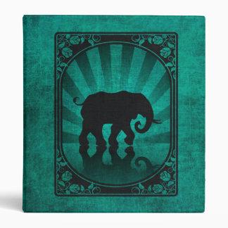 Vintage Teal Blue Elephant Silhouette Poster Binder