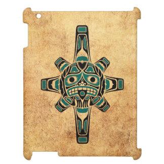 Vintage Teal Blue Haida Sun Mask iPad Cover