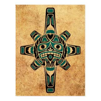 Vintage Teal Blue Haida Sun Mask Postcard