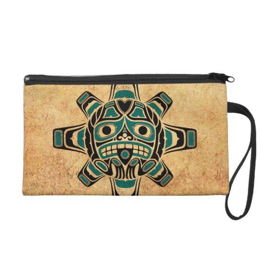 Vintage Teal Blue Haida Sun Mask Wristlet Purse