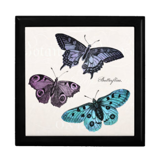 Vintage Teal Blue Purple Pink Butterfly Drawing Jewelry Box