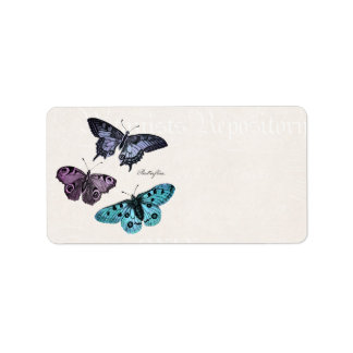 Vintage Teal Blue Purple Pink Butterfly Drawing Address Label