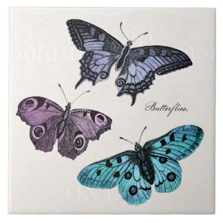 Vintage Teal Blue Purple Pink Butterfly Drawing Large Square Tile
