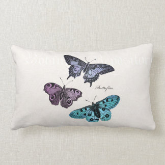 Vintage Teal Blue Purple Pink Butterfly Drawing Lumbar Pillow