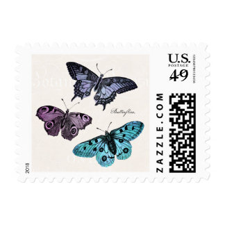 Vintage Teal Blue Purple Pink Butterfly Drawing Stamp