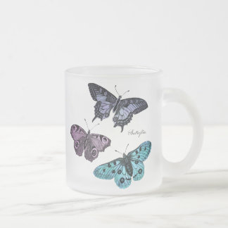 Vintage Teal Blue Purple Pink Butterfly Template 10 Oz Frosted Glass Coffee Mug