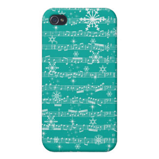 Vintage Teal Christmas Musical Sheet iPhone 4/4S Covers