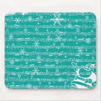 Vintage Teal Christmas Musical Sheet Mouse Pad