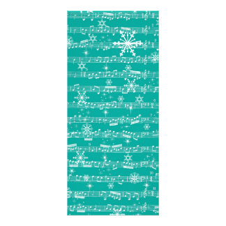 Vintage Teal Christmas Musical Sheet Personalized Rack Card