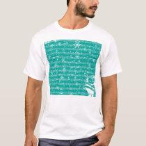 Vintage Teal Christmas Musical Sheet T-Shirt