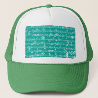 Vintage Teal Christmas Musical Sheet Trucker Hat