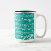 Vintage Teal Christmas Musical Sheet Two-Tone Coffee Mug
