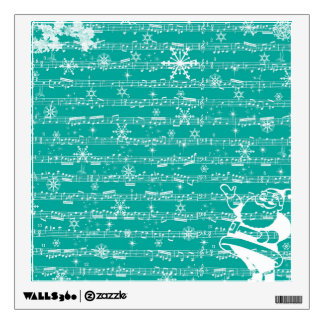Vintage Teal Christmas Musical Sheet Wall Stickers