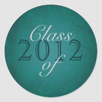 Vintage Teal Class of Silver Graduation Stickerie Classic Round Sticker
