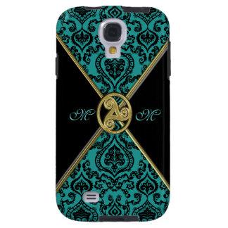 Vintage Teal Damask Celtic Triple Spiral Galaxy S4 Case