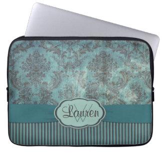 Vintage teal damask monogram laptop sleeves