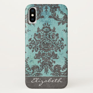 Vintage Teal Damask Pattern with Monogram iPhone X Case