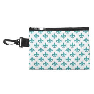 Vintage teal fleur de lis pattern accessory bag