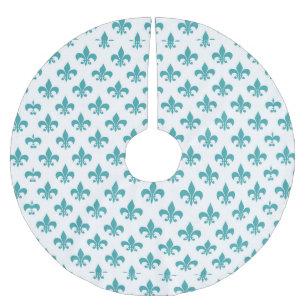 vintage teal fleur de lis pattern brushed polyester tree skirt - Teal Christmas Tree Skirt