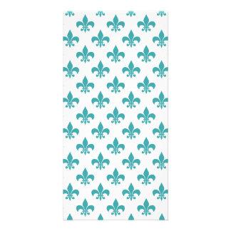 Vintage teal fleur de lis pattern card