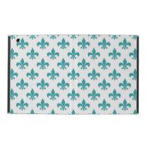 Vintage teal fleur de lis pattern iPad case